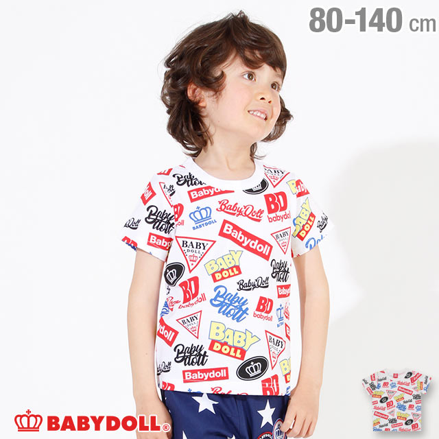 4/22NEW ロゴ 総柄 Tシャツ 2572K ベビードール BABYDOLL 子供服 ベビー キッズ 男の子 女の子