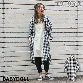 レディース限定 チェック ロングシャツ ワンピース 3238A ベビードール BABYDOLL 子供服 大人 レディース