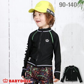 NEW 袖ロゴ 長袖 ジップ ラッシュガード 3716K ベビードール BABYDOLL 子供服 ベビー キッズ 男の子 女の子
