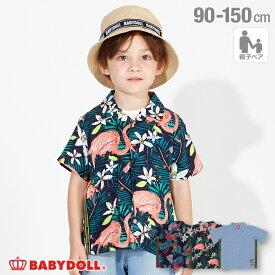 【3/11 13:59まで60%OFF】 親子お揃い ロゴテープ シャツ 4039K ベビードール BABYDOLL 子供服 ベビー キッズ 男の子 女の子