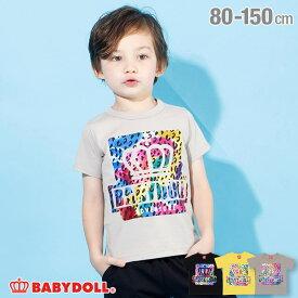 【3/11 13:59まで60%OFF】 親子お揃い 箔 ヒョウ柄 Tシャツ4201K ベビードール BABYDOLL 子供服 ベビー キッズ 男の子 女の子