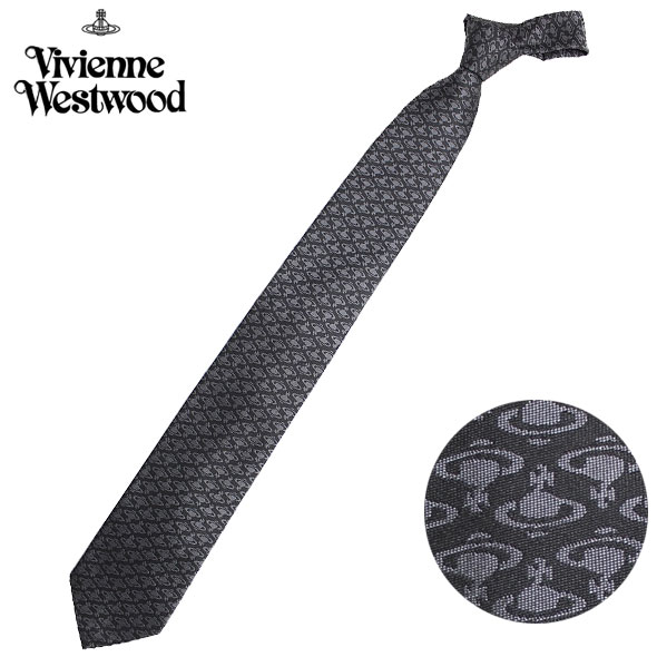 ヴィヴィアンウエストウッド Vivienne Westwood ネクタイ レギュラータイ 小紋 ロゴ シルク ビビアンウエストウッド T85 FN80 0006//T85-FN80-0006-HC【新品】