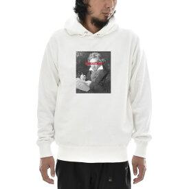 【アートパーカー】ベートーヴェン ベートーベン パーカー 肖像画 モノクロ Life is ART ライフ イズ アート 長袖 ロングスリーブ パーカ ホワイト 白 メンズ レディース 大きいサイズ ビック おしゃれ 絵画 名画 音楽家 作曲 S M L XL XXXL ブランド