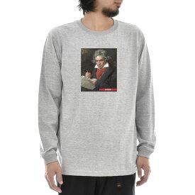 【アートTシャツ】ベートーヴェン ベートーベン Tシャツ 肖像画 Life is ART ライフ イズ アート 長袖 ロングスリーブ ロンT グレー メンズ レディース 大きいサイズ ビック ベースボール おしゃれ 絵画 名画 音楽家 作曲 ティーシャツ S M L xXL XXL ブランド