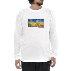 【アートTシャツ】ゴッホ Tシャツ カラスのいる麦畑 鳥 フィンセント・ファン・ゴッホ Life is ART ライフ イズ アート 長袖 ロングスリーブ ロンT メンズ レディース 大きいサイズ ビック おしゃれ 絵画 名画 ティーシャツ S M L XL XXL ホワイト 白 ブランド