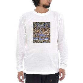 【アートTシャツ】ミケランジェロ・ブオナローティ Tシャツ 最後の審判 Life is ART ライフ イズ アート 長袖 ロングスリーブ ロンT メンズ レディース 大きいサイズ ビック おしゃれ 絵画 名画 ティーシャツ S M L XL XXL ホワイト 白 ブランド
