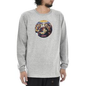 【アートTシャツ】サンドロ・ボッティチェッリ Tシャツ ザクロの聖母 Life is ART ライフ イズ アート 長袖 ロングスリーブ ロンT メンズ レディース 大きいサイズ ビック おしゃれ 絵画 名画 ティーシャツ S M L XL XXL グレー 灰 ブランド