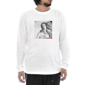 【アートTシャツ】サンドロ・ボッティチェッリ Tシャツ ヴィーナスの誕生 ビーナス フォーカス モノクロ Life is ART ライフ イズ アート 長袖 ロングスリーブ ロンT メンズ レディース 大きいサイズ ビック 絵画 名画 ティーシャツ S M L XL XXL ホワイト 白 ブランド