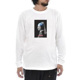 【アートTシャツ】ヨハネス・フェルメール Tシャツ 真珠の耳飾りの少女 モノクロブルー Life is ART ライフ イズ アート 長袖 ロングスリーブ ロンT メンズ レディース 大きいサイズ ビック おしゃれ 絵画 名画 ティーシャツ S M L XL XXL ホワイト 白 ブランド
