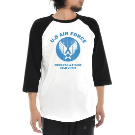 エアフォース AIR FORCE Tシャツ U.S AIR FORCE BASE ラグラン 七分 七分袖 3/4 メンズ レディース ティーシャツ US エアーフォース ミリタリー アメリカ USA ベース アメカジ 大きいサイズ S M L XL JUST ジャスト