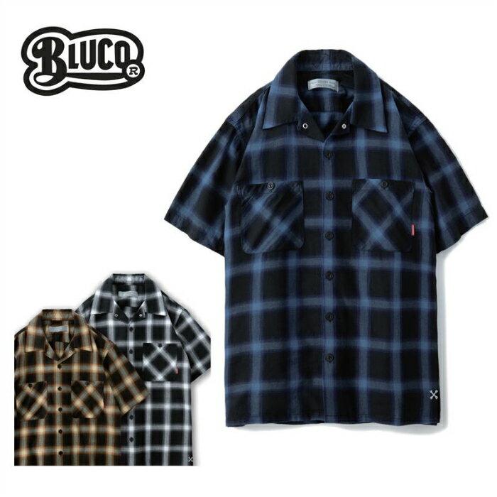 BLUCO ブルコ 半袖シャツ OL-108CO-019 WORK SHIRTS S/S -ombre check オンブレチェックシャツ