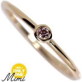 【特選ルース】K18 イエローゴールド×ピンクダイヤ「Mimi」ミミ リング【Fancy Vivid Orange Pink 0.039ct】