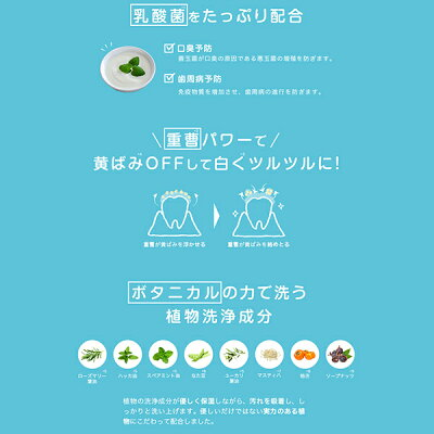 WHITEMOUTHホワイトマウス歯磨き粉ホワイトニング美白重曹ハミガキミント乳酸菌100g[単品]