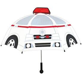 乗り物傘 救急車 キッズかさ 雨具 乗り物 のりもの 保育園 幼稚園 透明窓 サウンド付き ライト付き 音が鳴る 子供用 ギフト 働く車