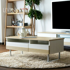 リビングテーブル 日本製 幅105 高さ39 引き出し 白 長方形 木製 センターテーブル おしゃれ アルダー 収納 アイアン脚 国産品 モダン ブルックリンスタイル