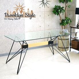 【送料無料】ダイニングテーブル 幅150cm アイアン インダストリアル カフェ 強化ガラス ダイニング ブルックリンスタイル