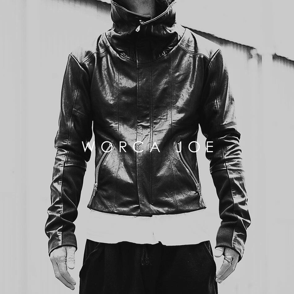 再度入荷後、即完売しました!  WORCA・JOE 本革 ライダースジャケットが遂に始動! 本革レザージャケット ダブルライダース M・Lサイズ メンズ 革ジャン 皮ジャン バイカージャケット 細身タイト モード系 オールブラック
