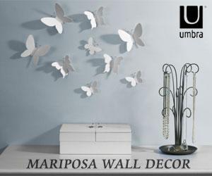 【UMBRA/アンブラ】 MARIPOSA WALL DECOR  (マリポサ ウォールデコ) 9セット/ウォールデコレーション/テープ/蝶