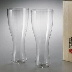 【松徳硝子】うすはりグラス・ 鼓・ビールグラス(ピルスナー)・2点セット・木箱付き