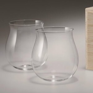 【松徳硝子】うすはりグラス・葡萄酒器 ブルゴーニュ2点セット・木箱付き