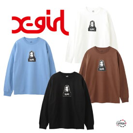【クリックポスト配送】X-girl エックスガール FACE L/S TEE 105205011001 長袖Tシャツ ロゴ ホワイト ブラック ブラウン ライトブルー レディース ユニセックス ロンT XGIRL 正規販売店
