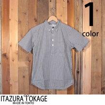 イタズラトカゲItazuraTokageギンガムチェックプルオーバーボタンダウンシャツ半袖18-SS-022