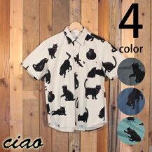 チャオciaoクロネコ黒猫柄綿麻半袖シャツ28-48429-469