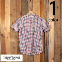 イタズラトカゲItazuraTokageコットンマドラスチェックプルオーバーボタンダウンシャツ半袖19-SS-067