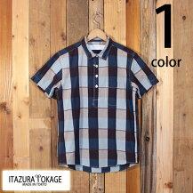 イタズラトカゲItazuraTokageコットンマドラスチェックプルオーバーボタンダウンシャツ半袖19-SS-069