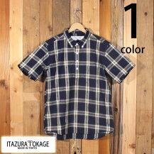 イタズラトカゲItazuraTokage綿麻マドラスチェックプルオーバーボタンダウンシャツ半袖20-SS-090