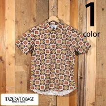 イタズラトカゲItazuraTokage綿麻ジオメトリック幾何学模様プルオーバーボタンダウンシャツ半袖20-SS-091