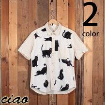 チャオciaoクロネコ黒猫柄綿麻半袖クレリックシャツ214-86