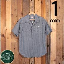 シュガーケーンSUGARCANEコンストラクターシャツヘリンボーンツイルコカ・コーラストライプチェーン刺繍ワークウェアSC38710GRAY