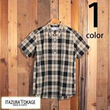 イタズラトカゲItazuraTokageブロードチェックプルオーバーボタンダウンシャツ半袖SM-PS12-06