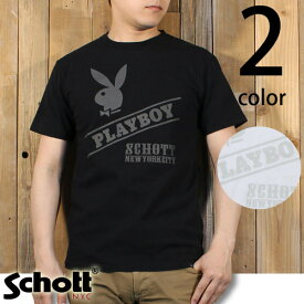 ショット Schott × PLAYBOY コラボレーション ロゴ 半袖 Tシャツ 3153050