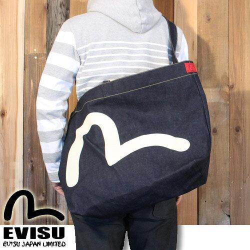エヴィスジーンズ EVISU トート バッグ エコ キャリーバッグ はこぶ君 2 ホワイト カモメ デニム EBD-0086ID