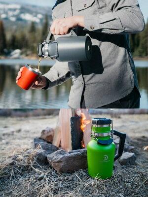 ●ポイント5倍炭酸の飲み物(ビールなど)を入れられる魔法瓶DrinkTanksドリンクタンクスGrowler32oz(0.94L)真空断熱グラウラーFERNグリーン保冷保温水筒【C1】【w95】
