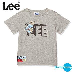 Lee ドラゴンボール Tシャツ DRAGON BALL リー コラボ 黒ロゴ キッズ 90cm 100cm 120cm 130cm 140cm コットン グレー ホワイト プリントTシャツ ワンポイント