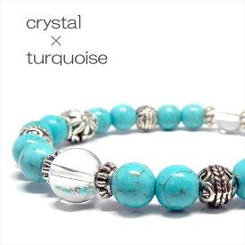 天然石 パワーストーン ブレスレット 夏ブレス ターコイズ 水晶 アクセサリー