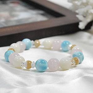 ラリマーAAA×ローズクォーツAAA×ホワイトコーラル×マザーオブパール×水晶<天然石ブレスレット・パワーストーン>ラリマール|ペクトライト|さんご(珊瑚)|クリスタル クォーツ