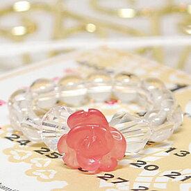 インカローズ(ロードクロサイト) 水晶 [ローズリング(薔薇)]<天然石リング・パワーストーン>