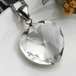 【高品質】水晶AAA ハートカット ペンダントトップ ネックレス 天然石 パワーストーン ハート 水晶 クリスタルクォーツ