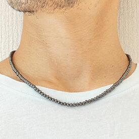 ヘマタイト 磁気ネックレス 4mm ヘマタイト 天然石 パワーストーン 肩こりに 磁気 ネックレス 赤鉄鉱 男女兼用 磁気入りネックレス 健康アクセサリー 磁気アクセサリー