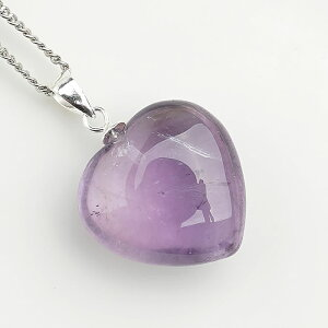 【一点物】アメジスト ハート ペンダントトップ ネックレス 天然石 パワーストーン 紫水晶 アメトリン原石から製作
