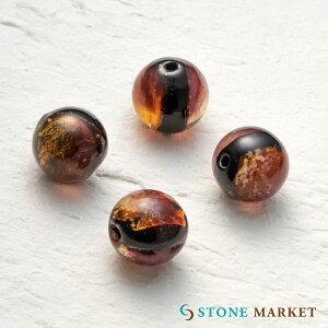 銀箔とガラスを組み合わせ特殊な技法で作られたホタルガラス・アクセサリーパーツとして大人気♪ルース(ホタルビーズレッド) [12mm 4粒セット] ストーンマーケット