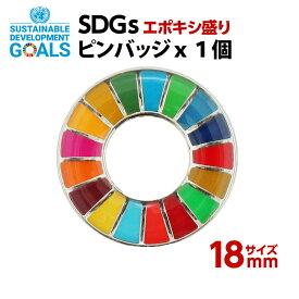 #013 SDGS ピンバッジ 1個入り(18mmエポありバタフライピン)【追跡可能メール便・送料無料】【宅配便ご指定の場合は差額420円加算します】