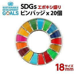 SDGS ピンバッジ 20個入り(18mmエポありバタフライピン)#013