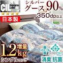 ◆今だけ!クーポン配布中◆【送料無料/在庫有】 増量1.2kg シルバーグース ダウン 90% 日本製 羽毛布団 シングル ロング 7年保証 SEK認定 アレルGプラス 抗菌 消臭 350dp以上 か
