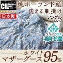 【送料無料/在庫有】【7年保証】 日本製 洗える 羽毛肌掛け布団 ホワイト マザー グース ダウン 95% シングル ロング …
