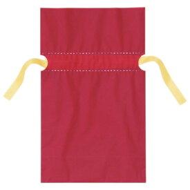 梨地リボン付ギフトバッグ 17cm レッド 20枚リボンを絞ると内側の袋が見えてツートンカラーになり、高級感がアップ。袋本体にリボンがセットされているので簡単にラッピングができます。【バレンタイン】ラッピング・包装・バレンタイン 袋